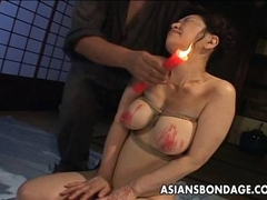 Tied up and waxed by her dominant Japanese master
