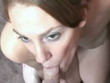 Curvy coed Mariah is swallowing a lucky geeks stiff cock
