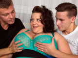 Young studs sharing a busty mature