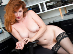 Redhead boss in the office - Amber Dawn