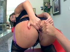 Blonde whore in lingerie loves dildo and his big cock for internald discharge