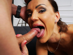 Busty brunette mature sucks and fucks a young guy