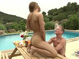 The hottest babe is being pounded by a grandpa in outdoors session