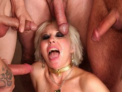 Blonde mature with big boobies gets a thick meat pole