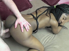 Ebony coed Lola Venom is taking some dick from a geek