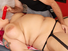 Fatty Sara Star receives a sex toy massage